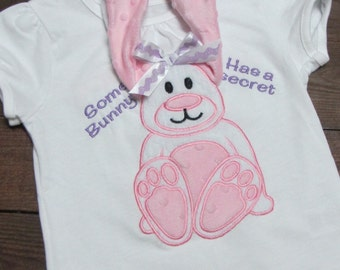 3d bunny shirt, Monogrammed Easter Bunny Applique Shirt, Girls Easter bunny shirt, floppy ear bunny shirt - big sister shirt