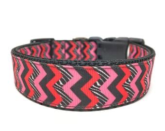 Pink Black Chevron Dog Collar Adjustable