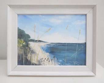 Lepe beach landscape painting framed / original painting / acrylic painting / seascape / English landscape / contemporary art / fine art