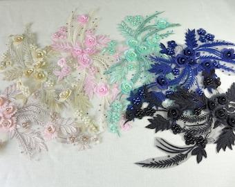Wedding Beaded Applique, Delicately Bridal Lace Applique, 3D Rose Flower Trim Applique