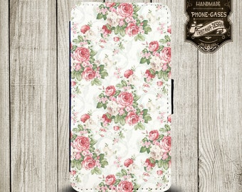 """Handytasche, Leather Wallet Phone Case  iPhone & Samsung,Sony Xperia  """"  Petit Fleur"""""""
