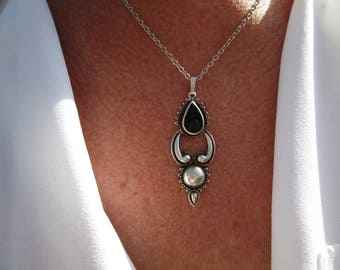 Ornate Black Onyx and Sterling Necklace