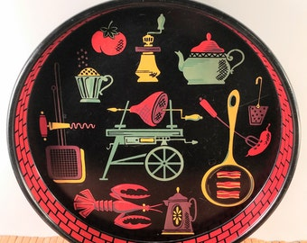 Vintage Round Tin Serving Tray. Black with Red, Yellow and Green Kitchen/Barbecue Graphics. Mid Century Barware. Retro Decor.