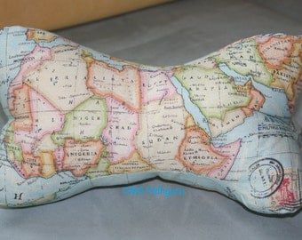 Read bone, neck pillow, world map, multi colored, continents, oceans, unique, one-off, reading pillow, world map pillow, pillow, cushion, CMS
