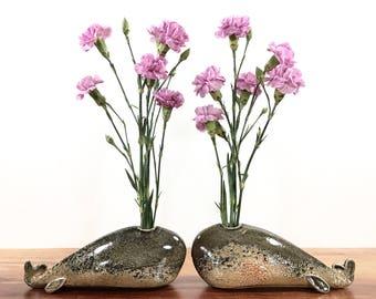 whale vase / bud vase / smoky grey gold peach shino whale / one whale