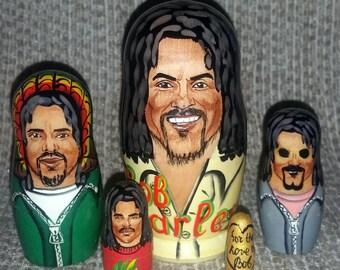 Bob Marley on Five Russian Nesting Dolls. Reggae.