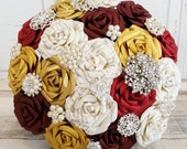 Paper Flower wedding bouquet roses red bordeaux burgundy gold book page harry pottervintage brooch fairy-tale winter princess theme bridal