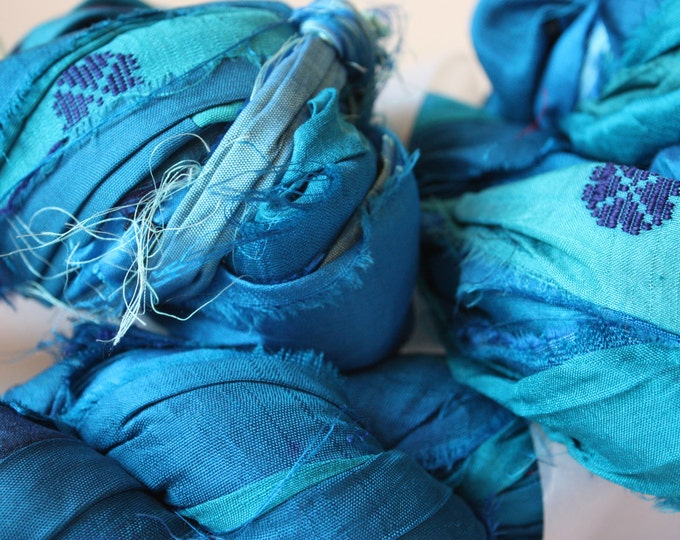 25% off SALE***Recycled Sari Silk Ribbon - Turquoise & Aqua