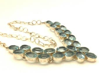 Sky Blue Topaz Quartz Genuine Necklace Faceted Stone Charming Solid Silver 925 Collar