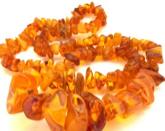 Vintage Amber Baltic Necklace Natural Genuine 87.35 Gr Honey Cognac Color (RW993)