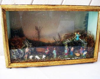 Music box nativity scene, vintage nativity set, vintage Christmas decor, mid century