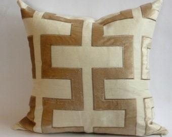 Beacon Hill Appliqued Carioca Key Velvet Pillow Cover