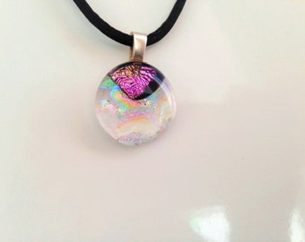 Unique gold blue and purple shining dichroic glass pendant, including a black satin necklace