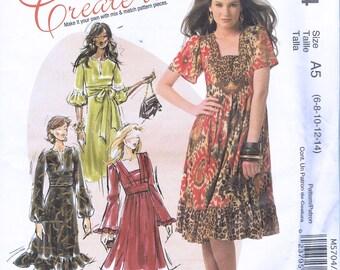 Size 6-14 Misses' Dress Pattern - V Neck Or Square Neck Dress Sewing Pattern - Pullover Dress Sewing Pattern - McCalls M5704