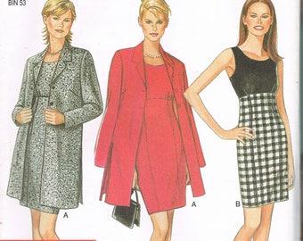 Size 8-18 Misses' Dress & Jacket Sewing Pattern - Empire Waist Sleeveless Knee Length Dress - Long Jacket Sewing Pattern - New Look 6554