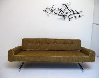 Mid Century Chrome Base Sofa