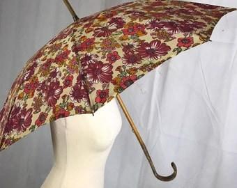 1940's 50's Floral Umbrella