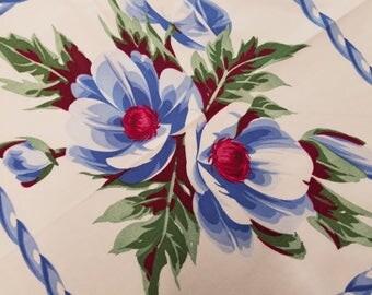 Vintage Blue Rope/Flower Tablecloth  #20