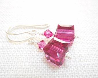 Fuchsia Crystal Cube Earrings, Swarovski Crystal Jewelry, Pink Dangle Earrings, Swarovski Crystal Jewelry, Beaded Drop Earrings