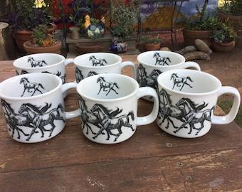 Vintage set of 6 hand crafted Otagiri horse design coffee mugs- Japan