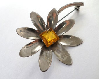Sterling Silver Daisy Pin Brooch Large Flower Yellow Citrine Rhinestone Vintage Sterling Silver Floral Flower Brooch Pin Jewelry