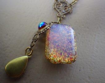 Citrine Opal Necklace ~  Vintage Glass ~ Amber Topaz Opal ~  Boho Style ~ Vintage Glass ~ Art Deco Style ~ by LadyofTheLakeJewels