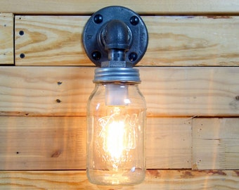 Clear 1 Quart Mason Jar Wall Sconce Light Black Iron Industrial Steampunk Style