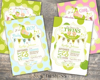 Sweet Peas in a Pod Baby Shower Invitation Card - Printable File