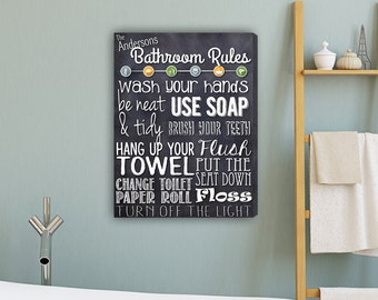 Personalized Bathroom Rules Canvas Print - Family Bathroom Rules Canvas Print - Bathroom Decor - Home Decor - Housewarming Gifts - CA0140