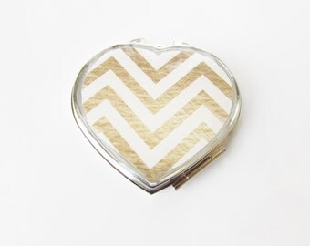 Compact Mirror - Heart Compact - Mirror Compact - Pocket Mirror - For Makeup Bag - Bridesmaid Gift