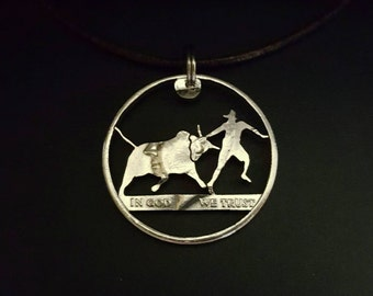 Rodeo Clown / Bull Fighter pendant cut from a half dollar coin jewelry necklace handmade