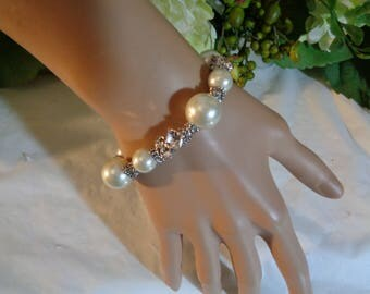 Givenchy Faux Glass Pearls  Swarovski Element Crystal Rhinestone Toggle Clasp Bracelet 7 inches
