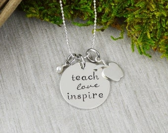 Teach Love Inspire Sterling Silver Necklace - Teacher Appreciation Gift