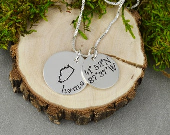 Custom State Necklace in Sterling Silver with Coordinates