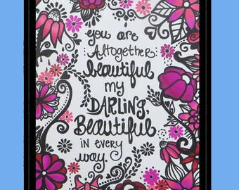 Bible Verse, Colored Pencil Drawing, Prismacolors, Beautiful, Darling, Flowers, Song of Solomon