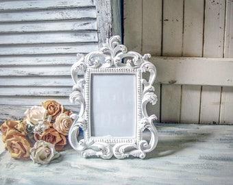 Shabby Chic White Vintage Style Ornate 5 x 7 Frame, Baroque Table Number Frames, Cottage Chic White Frame, Wedding Frame, Nursery Frame