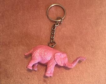 Pink glitter elephant keyring