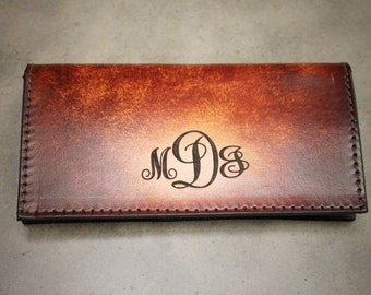 Monogrammed Checkbook Cover, Tooled Leather Checkbook Cover, Monogram Style Initials Engraved Free! Made in the USA