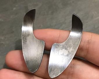 Vintage Sterling silver handmade earrings, solid 925 silver screw back earrings, stamped Sterling