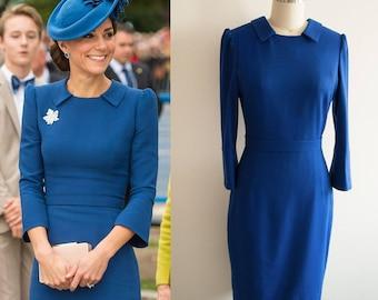 Kate Middleton Blue Pencil Dress/ Jenny Packham Inspired/ Royal Canada tour/ tailored dress/ custom made dress/ 1950s dress/ Premium fabric