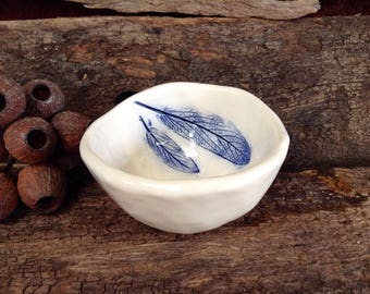 Botanical Ceramic Pinch Pot - White with Cobalt Blue Botanical Detail of Sage Leaves