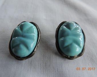 Vintage Blue Oval 1940's Earrings
