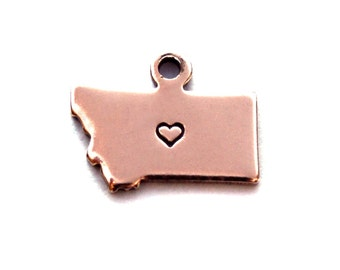 2x Rose Gold Plated Montana State Charms w/ Hearts - M132/H-MT