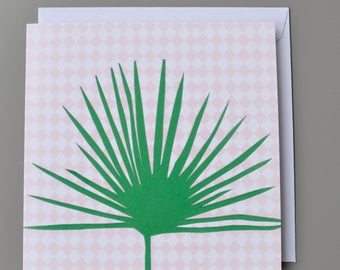 Fan Palm Blank Card -  Plant Birthday Card - Plant Card -  Thank you Card - Mother's Day card - Card for plant lovers - leaf card