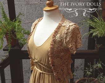 OOAK Amber Fawn Mori Girl Shrug - Tea Stained Crochet, Vintage Lace and Wooden Buttons ~ by The Ivory Dolls