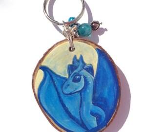 Keyring/ Wooden/ Slice/ Blue /Dragon /Mythical / Fantasy/ Keychain /Handpainted
