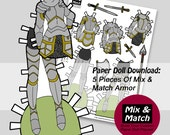 Paper Doll Armor- Mix & Match Digital Paper Doll Clothing Download- Printable Paper Doll Clothing Set- Knight Paper Doll- Lady Warrior
