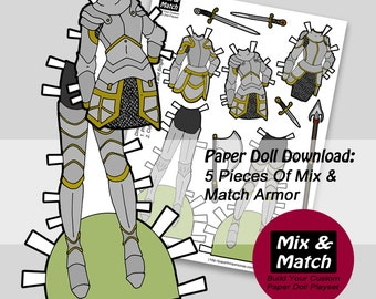 Paper Doll Armor- Digital Paper Doll Clothing Download- Knight Paper Doll- Lady Warrior Paper Doll- Women's Armor Paper Doll