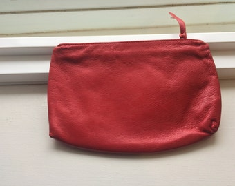 Vintage St. Thomas Red Leather Cosmetics Pouch/ Bag