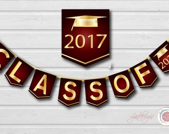 Digital Maroon and Gold Graduation Banner, Class Of, Graduate, Clipart, Grad, Graduation Party Decorations,Scrapbooking, Crafts, Printable
